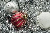 Christmas Balls In Tinsel