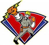 image of lineman  - Illustration of an electrician power lineman wielding holding a lightning bolt facing side done in retro style in isolated white background - JPG