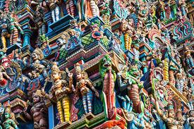 image of meenakshi  - detail of meenakshi temple in madurai india - JPG