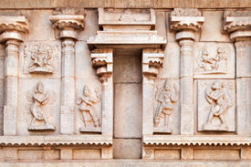 pic of belur  - Hindu temple wall with ornate carving Asia - JPG