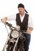 Man Bandana Motorcycle Sit Serious
