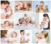 Collage Mother's Day Concept. Loving Moms With Babies.