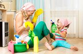 picture of sanitation  - happy mother with kid cleaning room and having fun - JPG