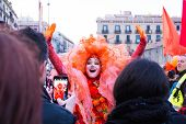 BARCELONA, SPAIN - FEBRUARY 27: El Carnaval de Barcelona, Barcelona Carnival Week in February 27, 2014 in Barcelona, Spain.