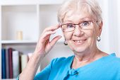Grandmother Wearing Reading Glasses