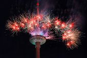 Fireworks At Vilnius Television Tower