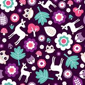 Seamless kids woodland for girls forest animals illustration background pattern with fox owl and deer in vector
