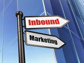 Finance concept: sign Inbound Marketing on Building background