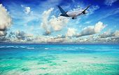 picture of water jet  - Tropical vacation concept - JPG