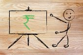 foto of indian currency  - blackboard with teacher or CEO with rupee indian currency symbol - JPG