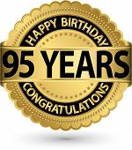 Happy Birthday 95 Years Gold Label, Vector Illustration