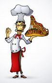 Chef with pizza monster in hand