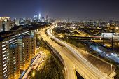picture of kuala lumpur skyline  - Ampang Kuala Lumpur Elevated Highway AKLEH with City Skyline in Malaysia at Dusk - JPG