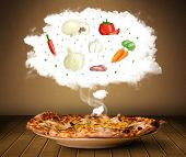 Pizza with vegetable ingredients illustration in cloud on wood deck