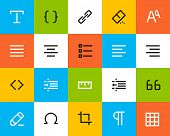 Formatting and editing icons. Flat style