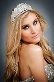 Portrait Of Beauty Queen Wearing Tiara.