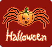 halloween's drawing - a pumpkin head with spider's legs