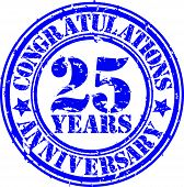 Cogratulations 25 Years Anniversary Grunge Rubber Stamp, Vector Illustration