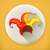 foto of jestering  - Jester cap long shadow vector icon - JPG