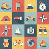 stock photo of boat  - set of flat adventure traveling icons - JPG