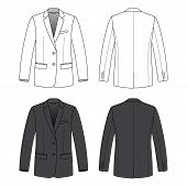 Front, back and side views of blank blazer.