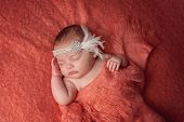 picture of headband  - A 10 week old baby girl wearing a Flapper inspired rhinestone and feather headband - JPG
