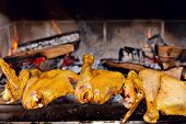 Chicken Roasting On Skewer
