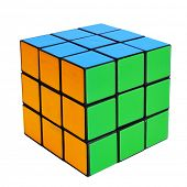 TARRAGONA, SPAIN - FEBRUARY 3, 2014: Rubiks cube on a white background. This famous cube puzzle was
