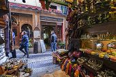 Commerce Of Arab Products In The Called Street Of The Tearooms,view From Inside The Shop, Granada, A