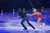 MOSCOW, RUSSIA - FEBRUARY 24, 2014: Ekaterina Bobrova and Dmitri Soloviev in action during Gala conc