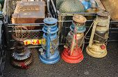 picture of kerosene lamp  - Colorful antique lamps at an antique local market - JPG