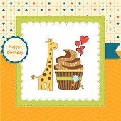 Birthday Greeting Card With Cupcake And Giraffe