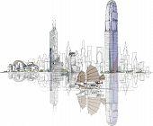 Hong Kong business center, sketch collection