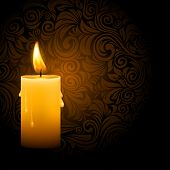 Vector illustration of beautiful glowing candle with melted wax on ornate dark background