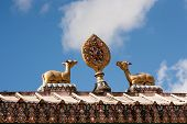 stock photo of dharma  - Sculpture of the wheel of Dharma and two deer on the gate of Tengboche monastery - JPG