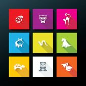 image of flat-foot  - Flat baby toy icon set  - JPG