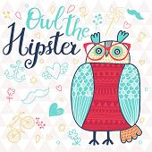 Owl the hipster. Cute cartoon card with bird and popular signs: bicycle, mustache, heart, anchor in vector