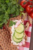 crispbread with cheese,radish and cucumber