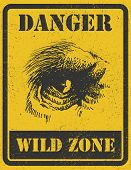 warning sign. danger signal with gorilla eye. jpeg version