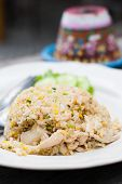 Fried Rice With Chicken In White Dish