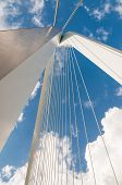 Detail Of Erasmus Bridge With Blue Sky In Rotterdam, The Netherlands
