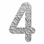 Font Aluminum Foil Texture Numeric 4