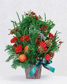 Flower Bouquet In Wooden Pot