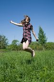 Jumping Long-haired Girl