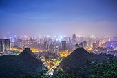 Guiyang, China cityscape at night.