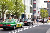 Traffic jam on the main crossroad of Harajuku
