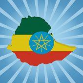 image of ethiopia  - Ethiopia map flag on blue sunburst illustration - JPG