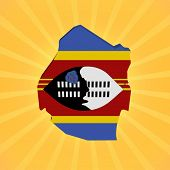 Swaziland map flag on sunburst illustration