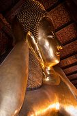 Reclining Buddha In Wat Pho With Half View