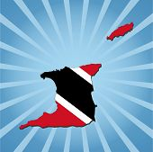 Trinidad map flag on blue sunburst illustration